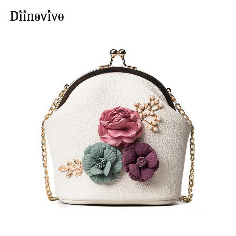 DIINOVIVO Fashion Women Handbag Flowers Luxury Shoulder Bag Small Tote Ladies Purse Designer Bolsas Feminina Sac A Main WHDV0437