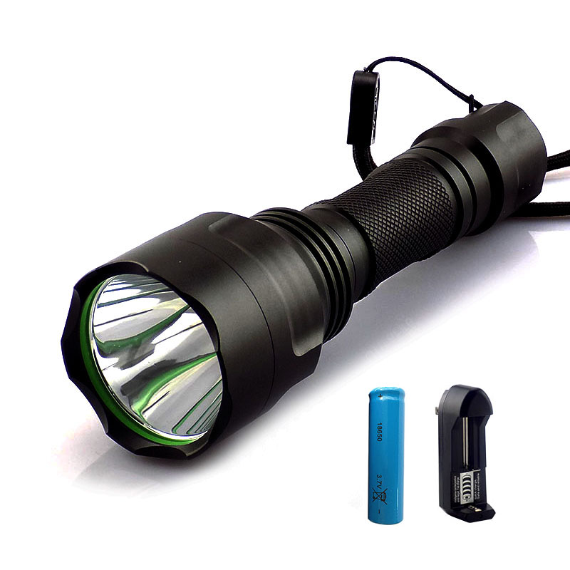 T6 LED Flashlight flash Torch light 2000lm linternas recargable flashlights powerful tactical + 18650 battery+ charger