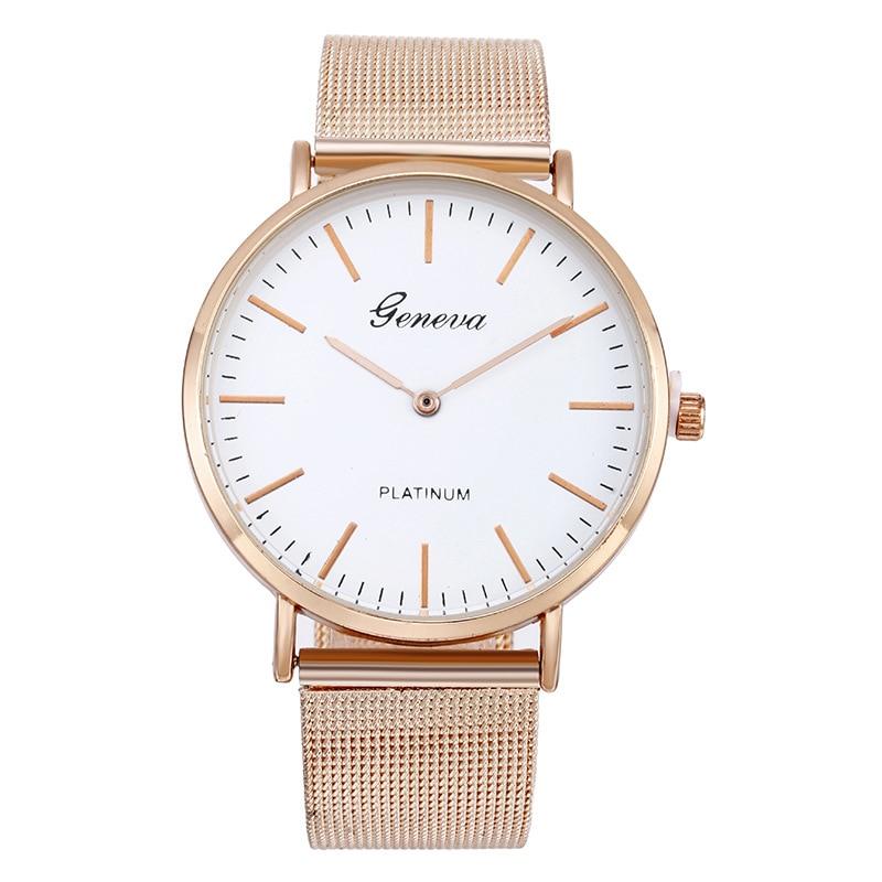 GENEVA Top Luxury Brand Quartz Watch Men Casual Japan Quartz-watch Stainless Steel Mesh Strap Ultra Thin Clock Unisex Watches
