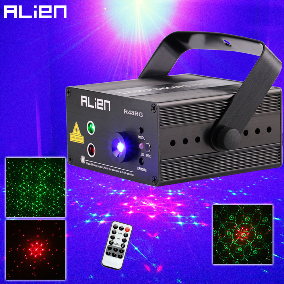 ALIEN RG 3 Lens 48 Patterns Mixing Laser Projector Stage Lighting Effect Blue LED Stage Lights Show Disco DJ Party Lighting alien led laser stage lighting 5 lens 96 patterns rg mini laser projector 3w blue light effect show for dj disco party lights