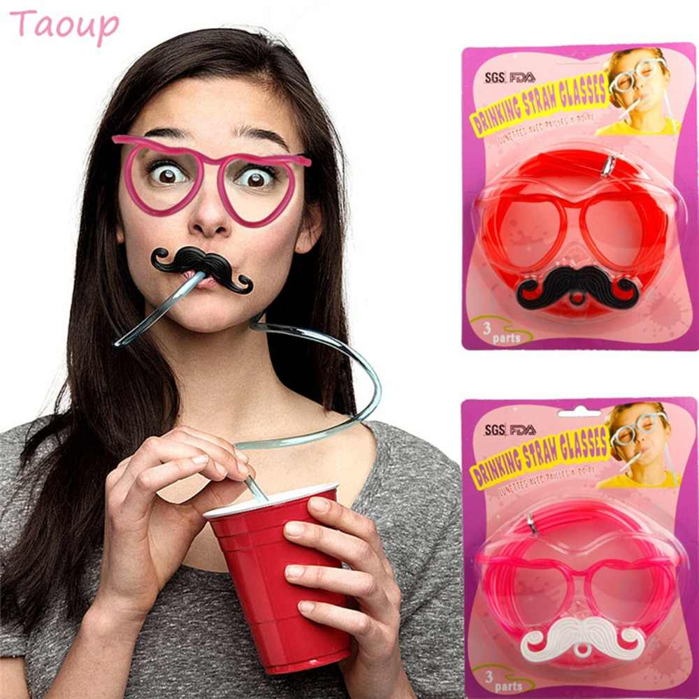 Taoup 1pc Love Heart Glasses Straws Round Plastic Drinking Straws Hen Party Favors Bachelor Party Happy Birthday Party Kids DIY