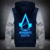 2017New Hiver Mode motif Lumineux Assassin Creed À Capuche Fermeture Éclair Sweat Ticken Cool Hoodies Hommes USA UE taille Plus taille