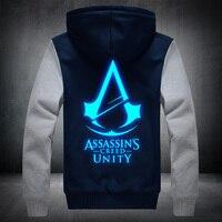 2017New Kış Moda Aydınlık desen Assassin Creed Hoodie Fermuar Kazak Ticken Serin Hoodies Erkekler ABD AB boyutu Artı boyutu