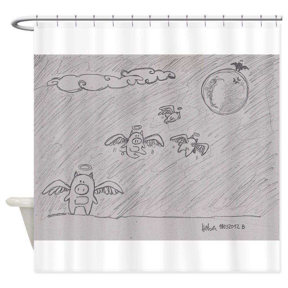 Flying Pigs Shower Curtain Decorative Fabric Shower