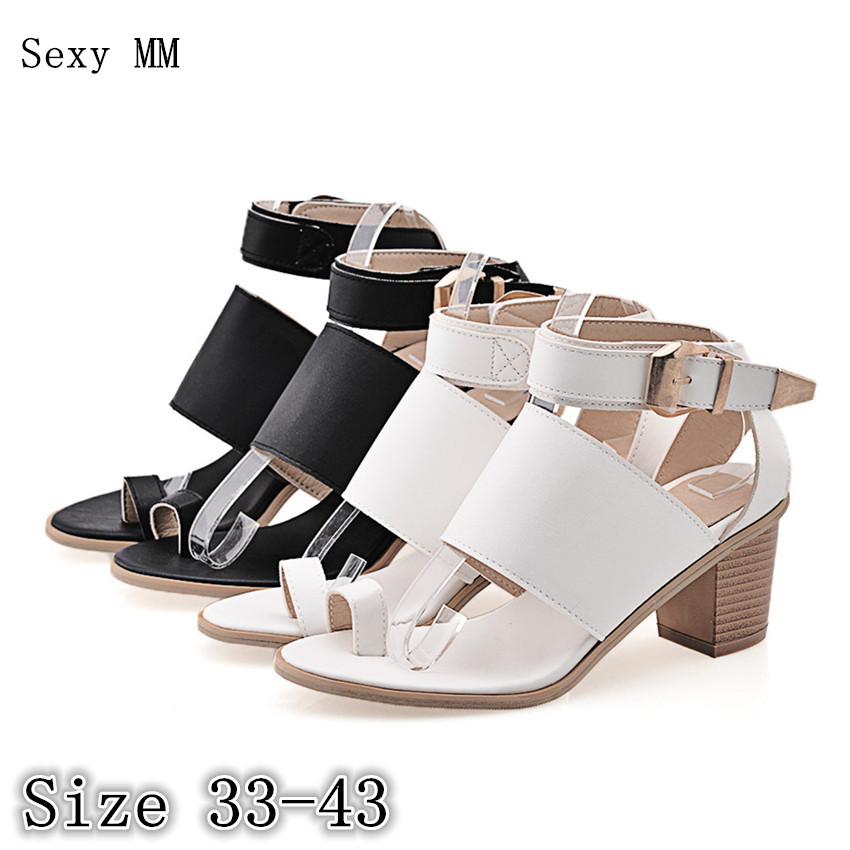 Women Gladiator Sandals Square High Heels Summer Pumps Shoes Woman High Heel Sandals Plus Size 33 - 40 41 42 43 plus size 33 43 new women sandals square thin heel summer ankle strap woman shoes red ladies fashion gladiator party pumps shoes