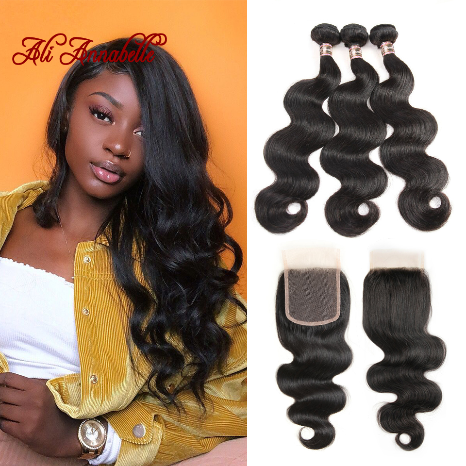 ALI ANNABELLE Malaysian Hair Weave 3 Bundles With Lace Closure Free Part Body Wave Human Hair