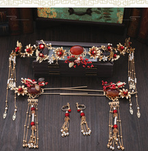 New red rhinestone Chinese-style coronet bride wedding crown earrings sets hairpin bridal hair ornaments