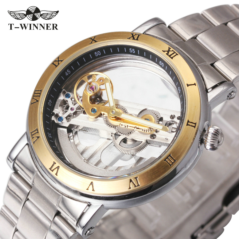 Men s Golden Bridge Wrist Watches Top Brand Luxury WINNER Transparent Mechanical Watches Fashion Roman Number