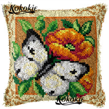 Merajut Karpet Benang Bordir Menjahit Kit Kupu-kupu Modern Karpet Berwarna-warni Cross Stitch Benang Bordir Kait Bantal(China)