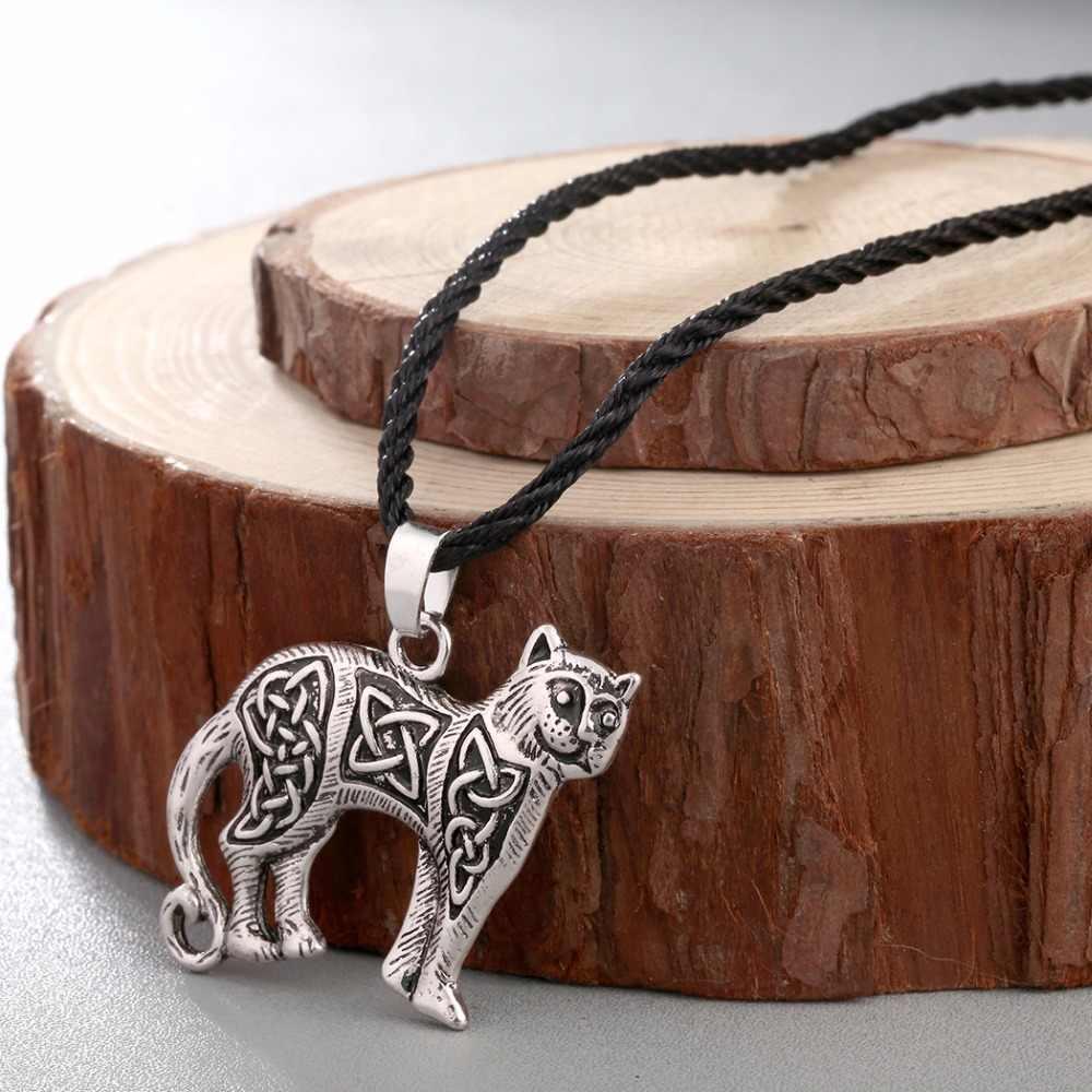 CHENGXUN בסגנון עתיק ומרקם מקורי סניף סלטיק חתול שרשרת תליון נמר בעלי החיים Valknut ויקינגים קמע שרשרת