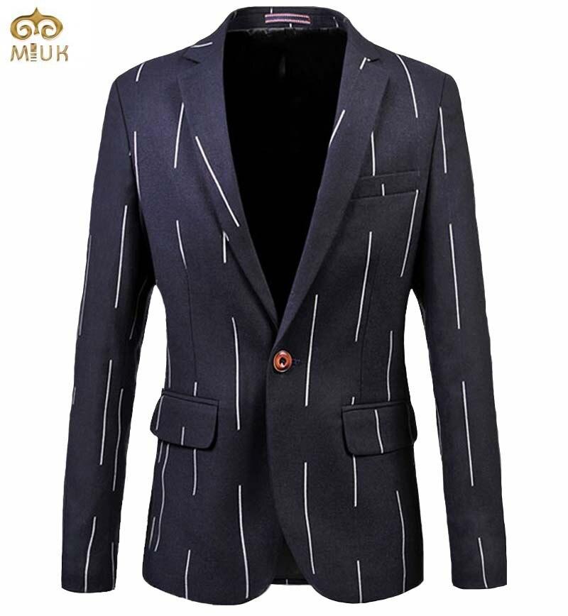 MIUK Stripe Plus Size Blazer Men 6XL 5XL Single Breasted