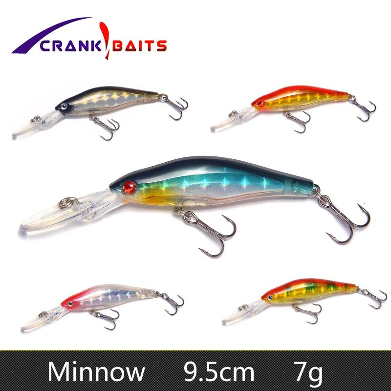 CRANK BAITS 1Pcs 9.5cm 7g Wobblers Lures Fishing Tackle 3D Eyes Minnow Lure Swim Crank Bait 6# hook fishing tackle YB247