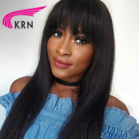 KRN Straight Brazilian Full Lace Human Hair Wigs With Bangs Remy Hair Pre Plucked Glueless Lace Wig Natural Hairline 130 Density