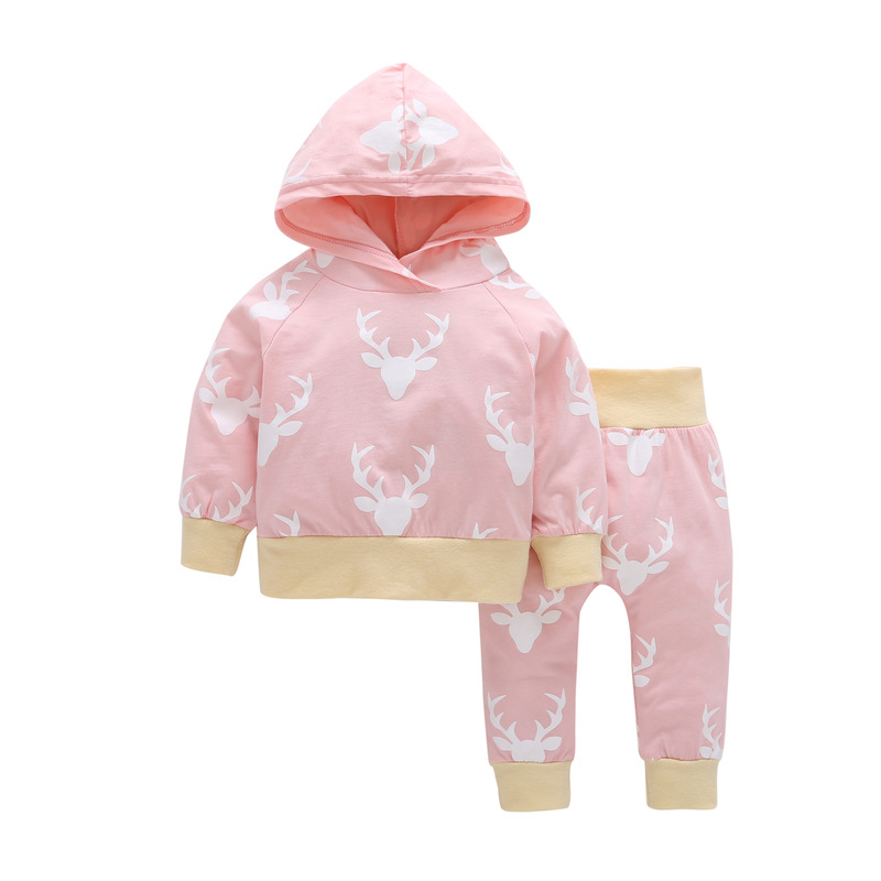 2pcs Fall Baby Boy Girl Clothing Long Sleeve Cartoon Fawn Hooded + Pants Baby Cotton Casual Two-piece Set Childrens Clothing