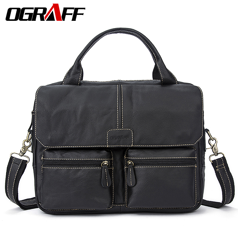 OGRAFF Men Bags Handbag Genuine Leather Briefcases Shoulder Bags Laptop Tote bag Crossbody Messenger Bags Handbags designer lacus jerry genuine cowhide leather men bag crossbody bags men s travel shoulder messenger bag tote laptop briefcases handbags