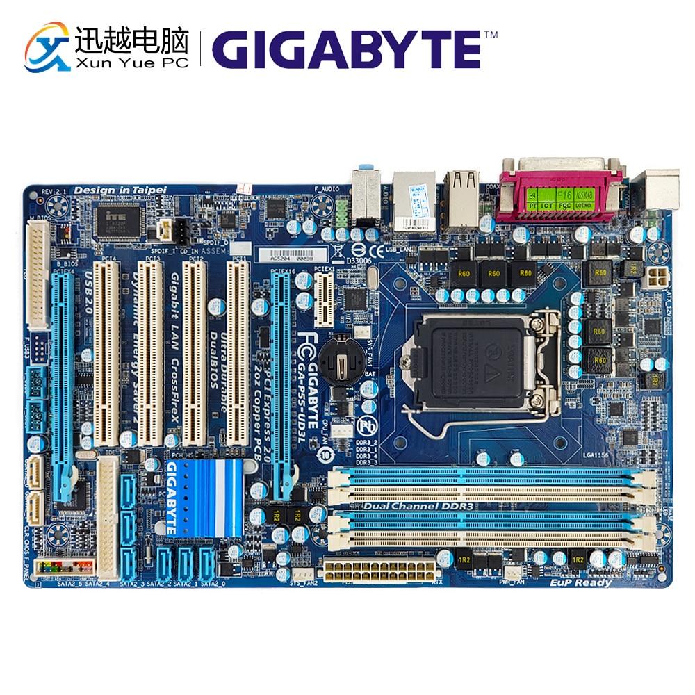 Gigabyte GA-P55-UD3L Desktop Motherboard P55-UD3L H55 LGA 1156 i5 i7 DDR3 16G SATA2 USB2.0 ATX gigabyte ga p55 s3 100% original motherboard lga 1156 ddr3 16g h55 p55 s3 p55 s3 desktop mainboard systemboard used mother board