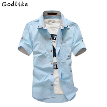 GODLIKE 2018 summer clothing Casual short-sleeved shirt men's pure color shirt Slim fit social shirt male social multiple Colour