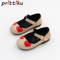 Baby Kid Cute Heart Sequin Glitter Flats Toddler Child Sparkle PU Leather Mary Jane Loafers Little Girl Party Princess Boat Shoe