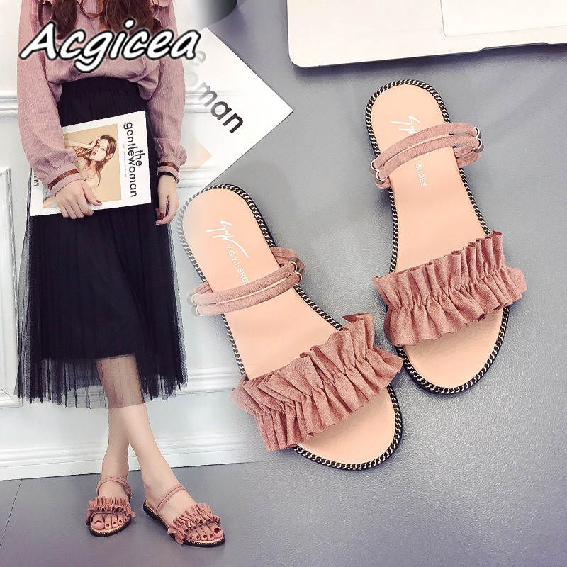 Female sandals Suede sandals slippers female summer 2018 new fashion wild wear shoes flat sandals slippers women wear f154 han edition diamond thick bottom female sandals 2017 new summer peep toe fashion sandals prevent slippery outside wear female