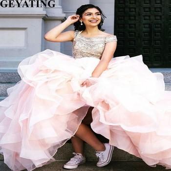 5565c26e9d Rosa tul Quinceañera hinchado vestido de fiesta vestidos de novia hombro  con cuentas de cristal volantes princesa Plus tamaño dulce 16 vestido  vestidos