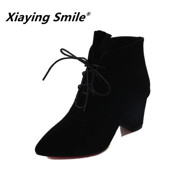 Xiaying Smile Women Pumps Winter Square/Thin Heel Fahion Flock Shoes Ladies Poined Toe Classica Party Pumps Shoes Women Shoes xiaying smile summer women sandals casual fashion lady square heel slip on flock shoes pointed toe cover heel lace bowtie shoes page 3