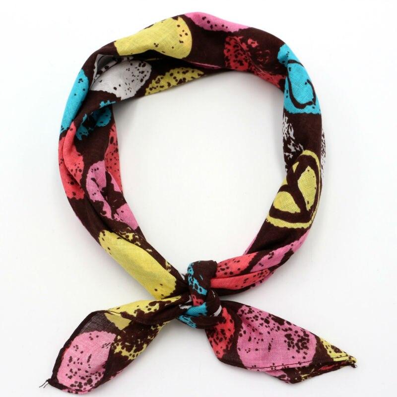 Cotton Peace Star Heart Headscarf Pocket Square Men Handkerchief Ladies Headband Women Bandanas