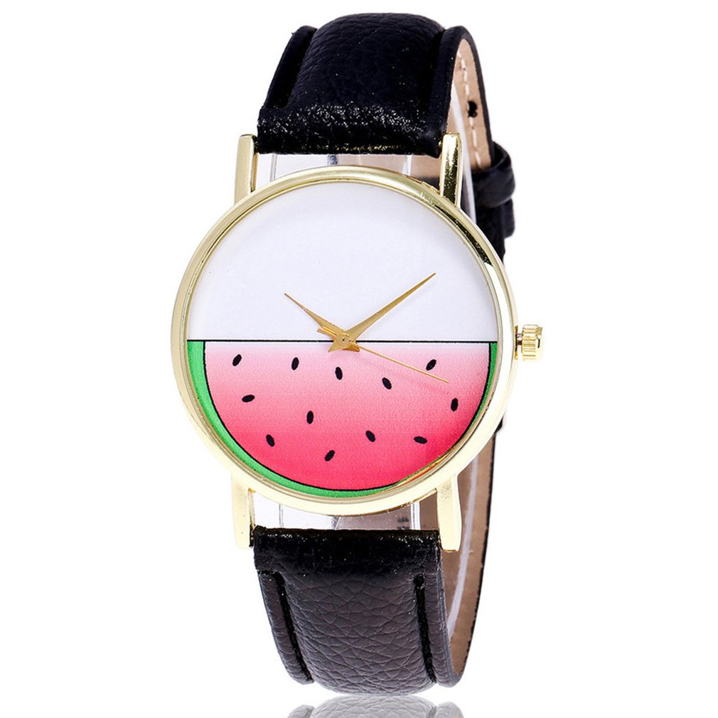 Quartz Watch Unique Watermelon Pattern Lovers Wrist Watch Trendy Leather Strap High-quality Brand New Women Watch