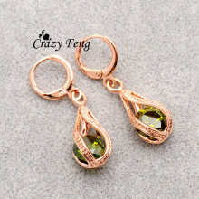 Free shipping Trendy New Women's  Rose Gold Color Water Drop CZ Crystal Pierced Dangle Drop Earrings Jewelry Gift