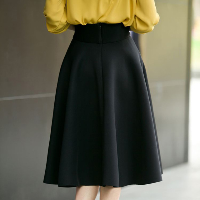 Pleat Elegant Skirt High Waist Knee-Length Flared Skirts Fashion Women  Faldas Saia 5XL Plus Size Ladies Jupe Green Black White