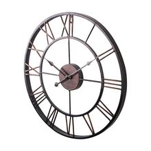New Extra Large Vintage Style Statement Metal Wall Clock Country - Chocolate color