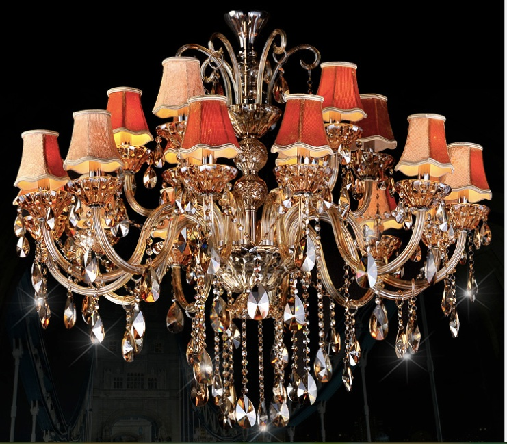Free Shipping Large chandelier Lighting 12+6 Arm champage Crystal K9 crystal chandelier Lighting Modern crystal  D1200MM H900MM