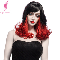 Yiyaobess 40cm Black Red Ombre Wig With Bangs Synthetic Middle Part Medium Long Curly Wigs For