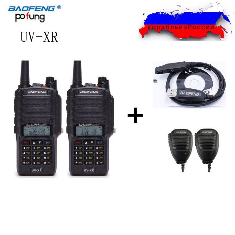 2 Pcs Baofeng UV-XR IP67 Étanche Talkie Walkie 10 W Puissance Double Bande VHF/UHF Ham 10 KM Deux Way Radio + Câble de Programmation + 2 Haut-Parleur