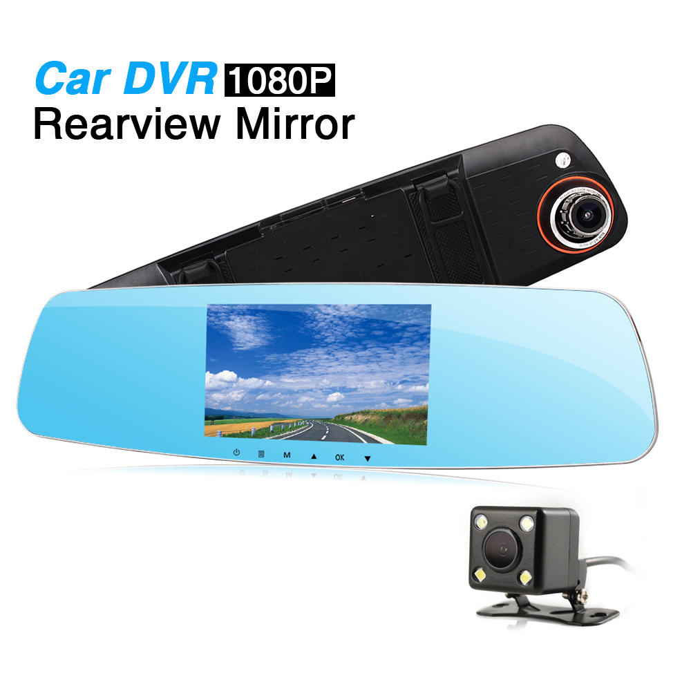 5 Inch Full 1080p Universal Car Rearview DVR Mirror with Dual Lens Reverse Camera ,Support TF/SD/Loop Recording/Motion Detection plusobd car recorder rearview mirror camera hd dvr for bmw x1 e90 e91 e87 e84 car black box 1080p with g sensor loop recording
