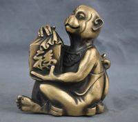 6'' Elaborate Chinese Folk Culture Handmade Brass statue Monkey Blessing Auspicious Sculpture