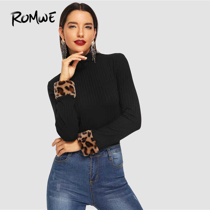 a4493feaeca7c ... ROMWE Slim Fitted High Neck Tee 2019 Black Chic Long Sleeve Leopard  Contrast Faux Fur Shirt ...