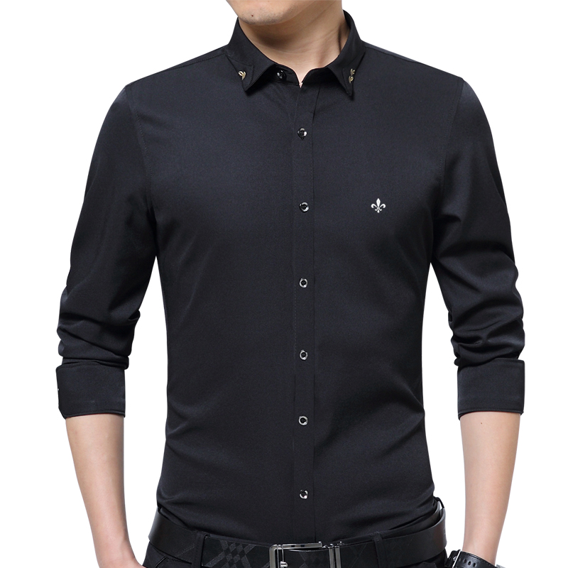 Dudalina 2019 New Male Men Shirts Male Long Sleeved Solid Color Cotton Slim Fit Men's Social Business High Quality Casual Shirt