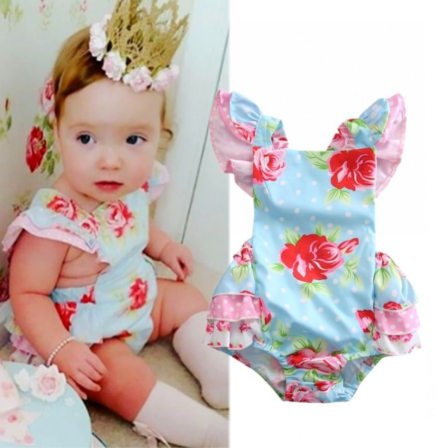 Newborn Toddler Baby Girls Clothes Fille Joli Floral Printed Ruffle Backless Bodysuit Jumper Jumpsuit Outfit Clothing