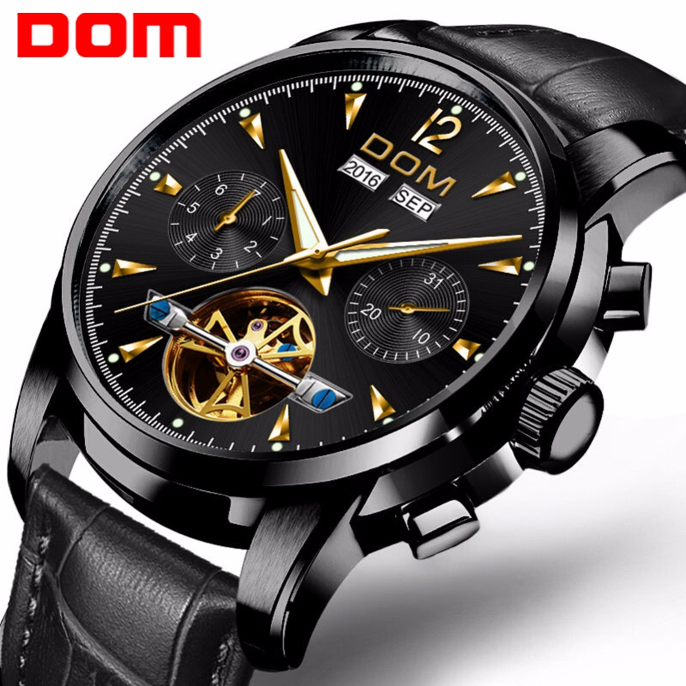 Men Mechanical Watch DOM Waterproof Leather Fashion Luxury Brand Man Sports Watches Mens Multifunctional Wristwatch M-75BL-1MW все цены