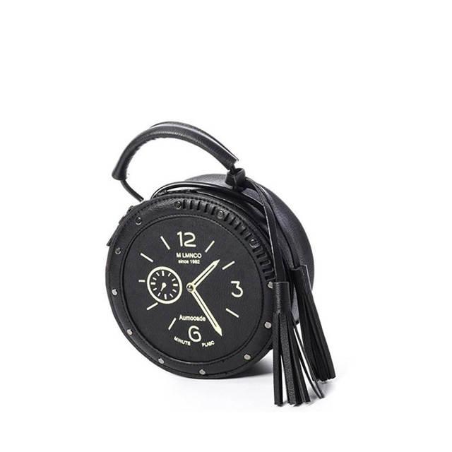 a61bedfb8c placeholder PU Sholuder Bag Famous Designer Brand Circular Bag Clock Shape  Unique Totes Vintage Handbag B-