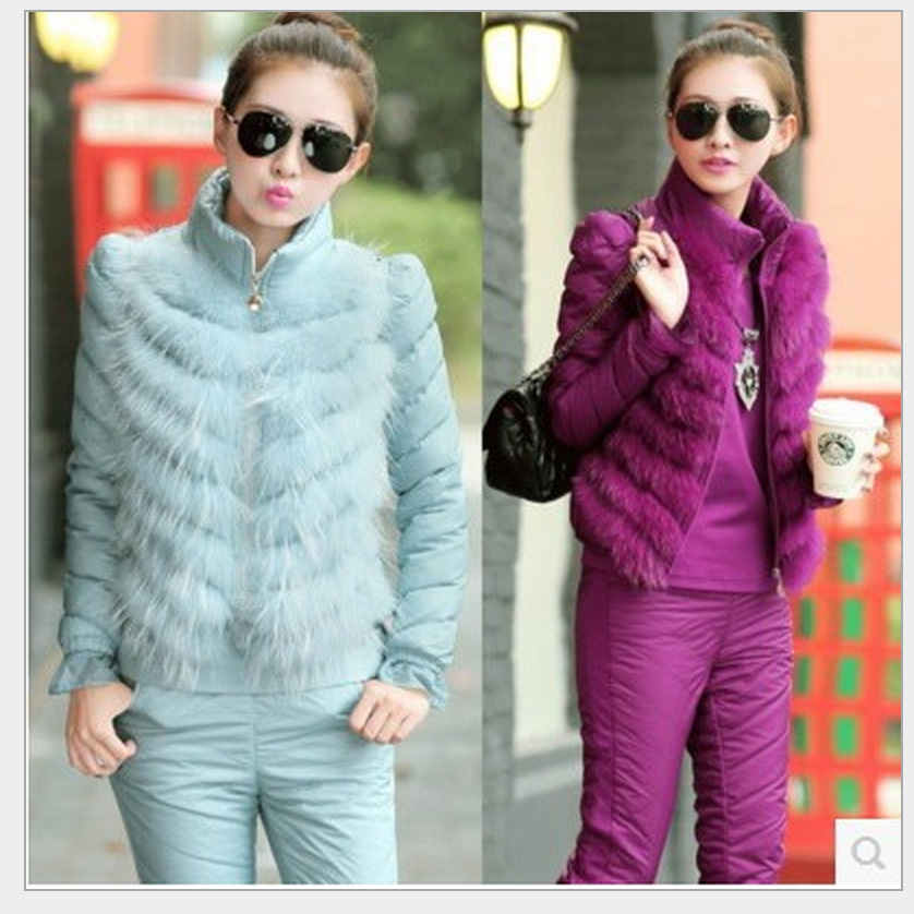 2019 Winter Down Jacket Fur Female Three piece Fashion Vest Really Raccoon Casual Suit Women Two