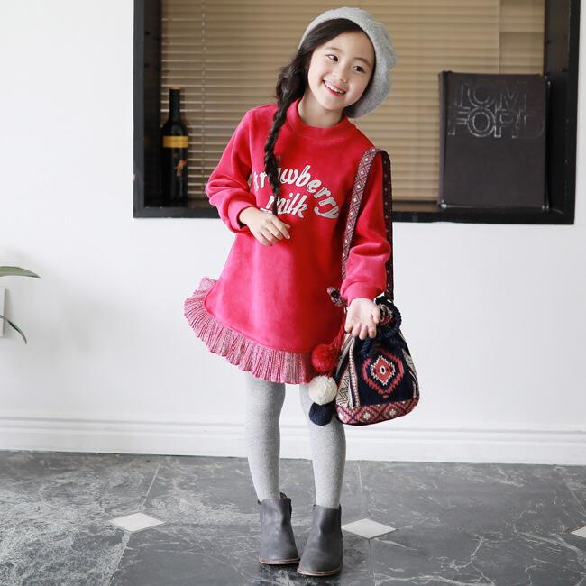 Kids girls winter princess dresses baby thick velvet red letter printed dress children o-neck long sleeve fake two clothes 4-13T