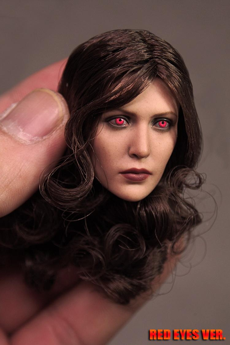 1:6 red Scarlet Witch version of Elizabeth Olsen HT head Sculpture Model