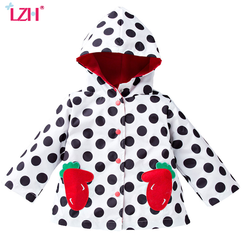 LZH 2017 Autumn Girls Jacket For Girls Strawberry Embroidered Raincoat Coat For Boys Jacket Kids Outerwear