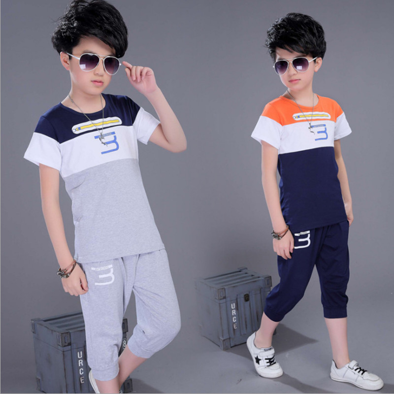 Boys Clothing 3 Word Set Sports Short Sleeve Children Clothes Sets For Color Navy / Gray 4-13 Years 2018 Summer Boys Clothing 3 Word Set Sports Short Sleeve Children Clothes Sets For Color Navy / Gray 4-13 Years 2018 Summer