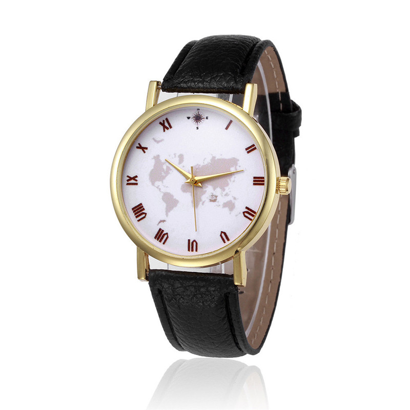 Reloj Hombre Men Women Watches Retro Design PU Leather Band Analog Alloy Quartz Watch Men's World Map Watch Women Clock Hour fabulous 1pc new women watches retro design leather band simple design hot style analog alloy quartz wrist watch women relogio