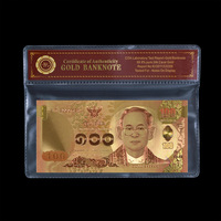 WR Business Gifts Color Thailand Gold Banknote Quality Unique Gifts R Gold Foil 100 Baht Bill Note with COA Gifts Collection