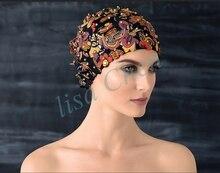 Nuevos Fasional todo trabajo hecho a mano flor gorro de baño de Las Mujeres gorro de baño adecuado para el pelo largo estilo sombreros de Playa Bohemia Clásica