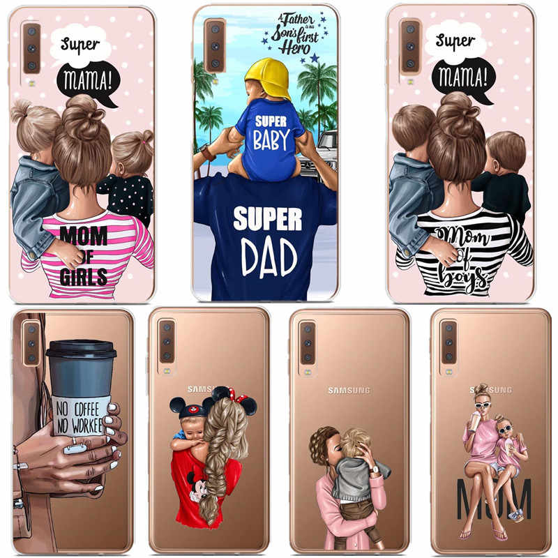 For Samsung A7 2018 Case 6.0 inch Soft TPU Silicon Phone Case For Samsung Galaxy A7 2018 Case A750 A750F Cover Dad Baby Mom Case