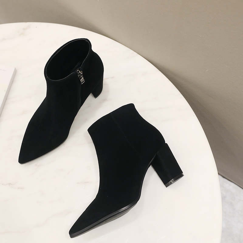 RYVBA Women suede Genuine leather pointed toe Ankle boots womens Autumn winter boots 2018 Woman fashion square high heels shoes 17